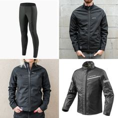 A few great ways to beat the wind when riding these days these days. Top left, clockwise: - Rev'It Storm Windblocker Pant - Knox Black Windproof Top for men - Rev'It Cyclone H2O Waterproof Rain Jacket - Knox Black Windproof Top for ladies Motorcycle Riding Gear, Motorcycle Jacket, Waterproof Rain Jacket, Lady, Pants, Jackets, Collection, Tops, Fashion