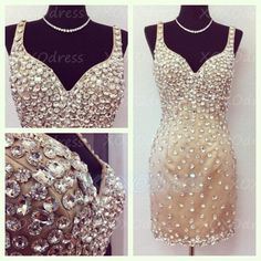 Gorgeous Sexy Straps V-neck Beaded Short Prom Dress 2014 Homecoming Dress on Etsy, $129.00