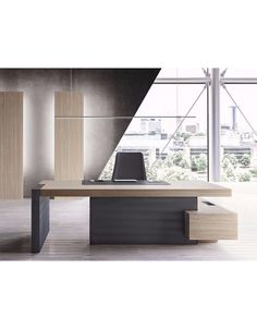 Office Table L-shaped executive desk with shelves JERA Modern Office Table, Office Table Design, Office Furniture Design, Office Interior Design, Office Interiors, Office Designs, Modern Furniture, L Shaped Executive Desk, Executive Office Desk