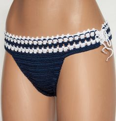 Panties bikini, crochet bikini 2015 summer blue panties, sexy clothes, beachwear, lingerie for women, LoveKnittings