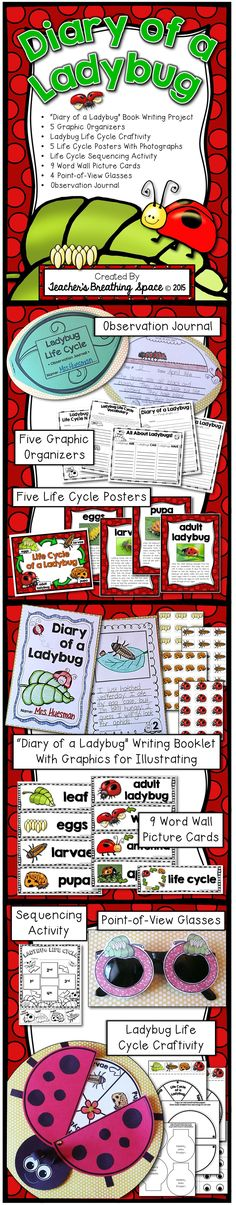 """Ladybug Life Cycle --- Diary of a Ladybug! This set includes a book writing project titled, """"Diary of a Ladybug"""", 5 graphic organizers, 5 life cycle posters with photographs, 9 word wall picture cards, a leaf-shaped observation journal, 4 point-of-view glasses, a printable sequencing activity and a ladybug life cycle craftivity!"""