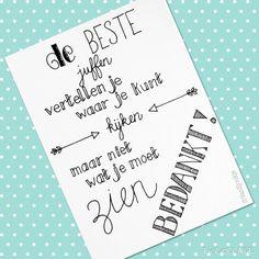 Juffen bedankkaartje, design by ©VanSjoukje #handlettering #bedankt #juf