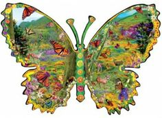 Monarch Meadow SunsOut 1000 Piece SHAPED Jigsaw Puzzle by Artist Alixandra Mullins, $18.50