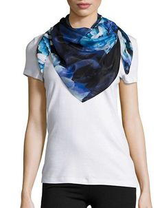 Echo Floral Silk Square Scarf Women's Navy Blue
