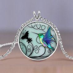 Kolibri-Schmuck  Blauer Kolibri Halsband  von MaDGreenCreations