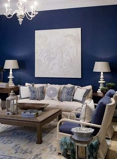 indigo and white living room #BelleLiving
