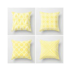 Throw Pillow - Modern Butter Yellow and White Geometric triangle circle dot - Throw Pillow Cover 16 18 20 24 inch