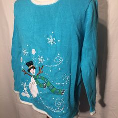 I'll Have a Blue Christmas with my Snowman UGLY CHRISTMAS SWEATEr XL Extra Large Blue Snowman by UglySweaters4U on Etsy