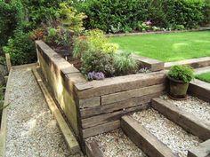step treatment for my front porch Garden Stairs, Terrace Garden, Garden Paths, Garden Beds, Outdoor Steps, Outdoor Landscaping, Front Yard Landscaping, Back Gardens, Outdoor Gardens