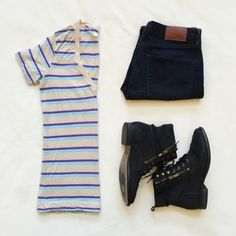 Madewell striped v neck tee Great transitional piece. Layer now and live in it in the spring and summer 100% viscose normal wear. Madewell Tops