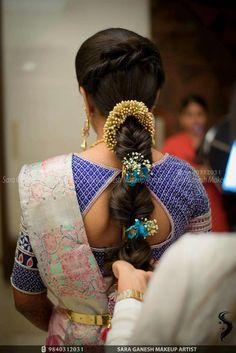 Frisur wedding engagement hairstyles 2019 - wedding and engagement 2019 New Bridal Hairstyle, Bridal Hair Buns, Hairdo Wedding, Indian Wedding Hairstyles, Saree Wedding, Braid Hair, Diy Wedding, Wedding Events, Weddings
