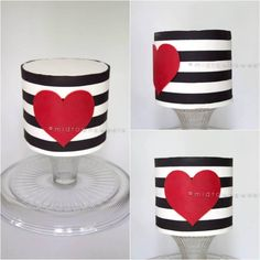 Black and White Striped Cake with Red Heart Created using the wax transfer techniques I learned in the Clean & Simple Class taught by Jessica Harris of Jessicakes Blog. I'm SO happy I took this class!