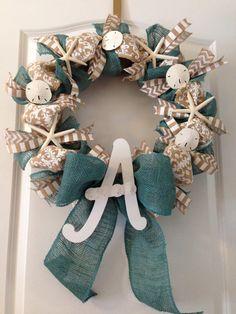 Custom Monogrammed Coastal Wreath by GiftedBoutiqueLLC on Etsy