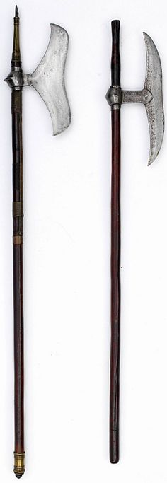 Indian bullova axe, from the Khond region, Chota Nagpur aboriginal tribes of central India with brass bound shaft,  they originate from several warlike tribal groups in Central/Eastern India from the Chota Nagpur plateau, foremost among these being the Khonds of Orissa. 19th century, Metropolitan Museum of Art, New York.