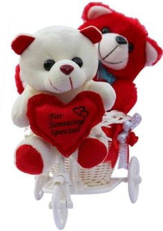 """Glorious Trader Cutest """"for Someone Special"""" Heart Couple Teddy Bear on a Tricycle in Red & White Color - Cute Teddy Bear Pics, Teddy Bear Images, Teddy Bear Pictures, Love You Gif, Cute Love Gif, Flower Phone Wallpaper, Bear Wallpaper, Teddy Bear Delivery, Teddy Bear Online"""