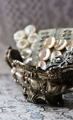Vintage Buttons in silver bowl