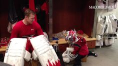 Mule's son, Eddie Bo, wearing Howie's Olympic mask after practice (2/3/14) [click for video]
