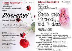 """30.4.2016 ore 19 - Presentazione libri """"Divoratori"""" di Rossana Atzori e """"Sono solo ricordi… ma li amo"""" di Andrea Berti"""
