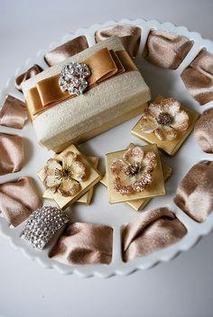 Silk Champagne Wedding Favor Box