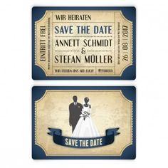 save the date karten zur hochzeit - vintage brautpaar in grün, Einladungen