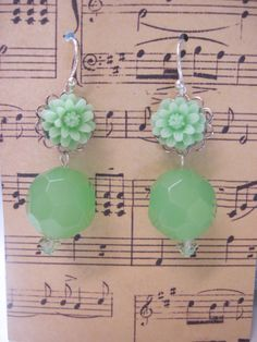 Sterling Silver Mint Green Cabochon Earrings by gracenotegifts, $14.00