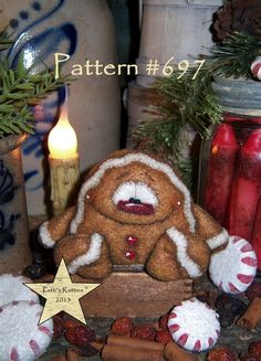 "Patti/'s Ratties Primitive Christmas Tree Gingerbread 6/"" Doll Paper Pattern 682"