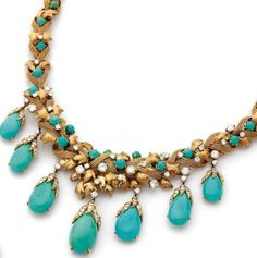Turquoise enveloped necklace.