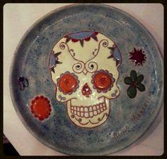 """Prato cerâmica - """"Caveira Mexicana"""""""