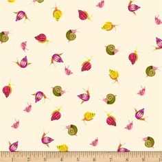 Heather Ross Sleeping Porch Lawn Snails Cream from @fabricdotcom  Designed by Heather Ross for Windham Fabrics, this very lightweight fabric is a finely woven, high count combed cotton lawn that is very soft and has an ultra smooth hand. It is perfect for flirty blouses, dresses, shirts, lingerie, tunics, tops and even quilting. Colors include cream, yellow, shades of green and pink, orange and peach.