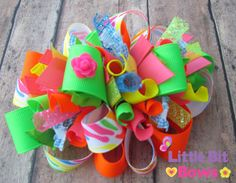 Neon Zebra Boutique Funky Bow by LittleBitBows on Etsy