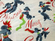 FRENCH POODLES & Christmas Stockings   by HolidayKitschklatsch, $18.00
