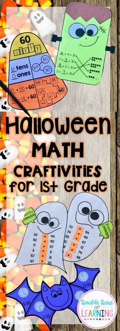 Halloween Math Crafts for first grade! Common core aligned and perfect for bulletin board displays! Base ten, missing addends, compare and contrast, telling time to the hour and half hour! Pre-k Resources, Teacher Created Resources, Teaching Resources, 1st Grade Math, First Grade, Second Grade, Interactive Activities, Math Activities, Math Bulletin Boards