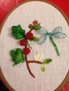 Stumpwork- beaded raspberries, wired leaves using buttonhole and fly stitch. Beaded dragonfly with wired organza wings. Handmade by alybaly.