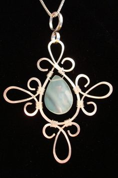 Pendant Wire Wrap Silver Pale Blue Chalcedony by ArtfullyWrapped, $55.00