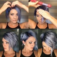 Bonus #shorthairtutorialmonday with a quickie #flatironcurls #tutorial. New color formulas on previous post. #denimhair #bluehairdontcare #nothingbutpixies #behindthechair #pixiestyles #kenraprofessional #simplyblonde #kenrametallics #emilyandersonstyling