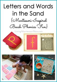 Fun, Montessori-inspired letters and words in the sand for a beach theme at home or in the classroom; beach phonics activities for preschool through early elementary; from 100 Fun & Easy Learning Games for Kids.