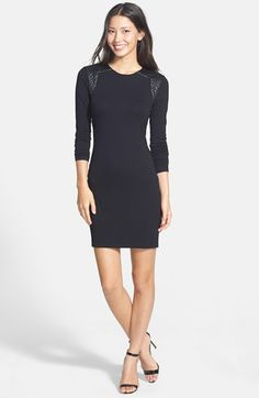 Vince Camuto Faux Leather Trim Body-Con Dress | Nordstrom