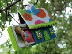 Miniature matchbox fairy doll with house