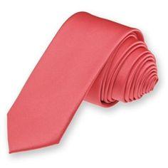 Solid Coral Rose Skinny Tie