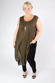 Plus Size Clothing for Women - Olive Side Slit Maxi Tank  (Sizes 16 - 22) - Society+ - Society Plus - Buy Online Now!