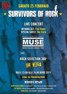 Il Bikini Cattolica ti aspetta tutti i sabati con il Survivors of Rock. Un evento rock 100% per dare spazio alle band locali e nazionali.