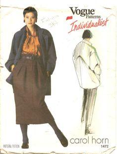 Vintage Vogue Individualist 1472 Carol Horn Jacket Pants Skirt Pattern Sz 10
