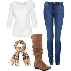 Simple, Super Casual Fall Outfit. All you need to achieve it is skinny jeans, riding boots, a long sleeve shirt and a scarf!