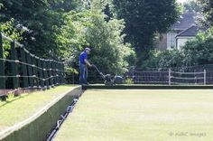 """""""Quintessentially English Scene , mowing a bowling green on a Sunday morning, Windmill Gardens Sunday Morning, Windmill, Bowling, Lawn, Scene, Gardens, English, Windmills, Garden"""