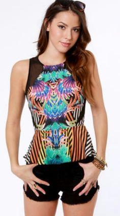 Carnival-ley girl print peplum top ♡ so cute