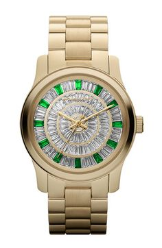 OBSESSING over this watch. Michael Kors 'Runway' Crystal Dial Bracelet Watch   Nordstrom