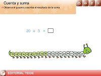 Tic suma hasta 25   http://www.editorialteide.es/elearning/Primaria.asp?IdJuego=1122IdTipoJuego=8         Tambien en http://guindo.pntic.mec.es/~jcos0004/primer.html
