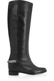 Christian LouboutinCate chain-trimmed textured-leather knee boots