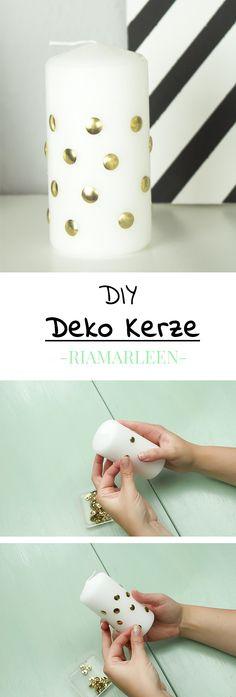 Schöne und günstige DIY Deko Kerze zum Basteln und Selber machen - eignet sich auch prima als Geschenk für Freunde und Familie.