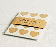 Small Kraft Brown Heart Sticker Envelope Seals — Thatch & Thistle Supply Co. // Pretty packaging, gift wrapping, crafting and party supplies for gifts, parties, birthdays, showers, weddings and decor. Shop for baker's twine, mini clothespins, paper bags, pom pom garland, paper straws, carnival tickets, stickers and more! // thatchandthistleco.etsy.com